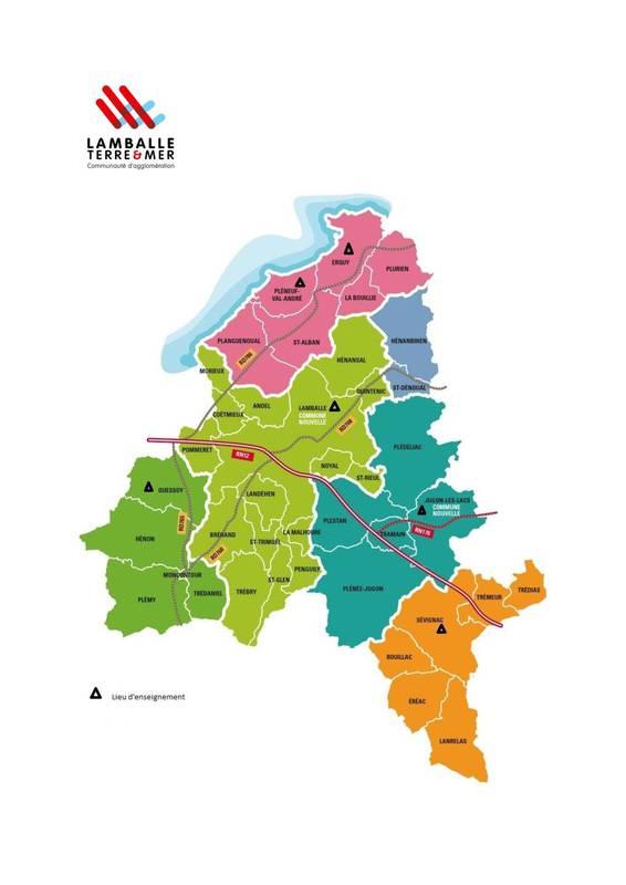 carte lieux d'enseignement